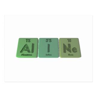 Aline als Aluminiumjod-Neon Postkarte