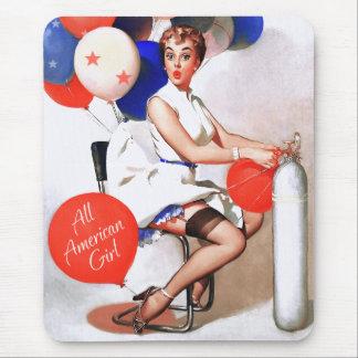 All-Amerikanisches Mädchen. Button-oben Mousepad