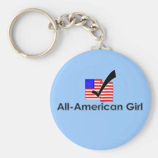 All-Amerikanisches Mädchen Standard Runder Schlüsselanhänger