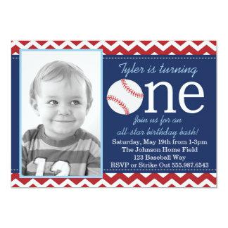 All-Star- Baseball-Geburtstags-Schlag-Einladung Karte