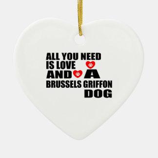 Alle benötigen Sie Hundeentwürfe Liebe BRÜSSELS Keramik Ornament
