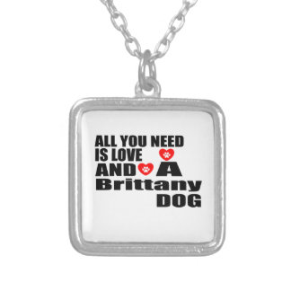 Alle benötigen Sie Liebe-Bretagne-Hundeentwürfe Versilberte Kette