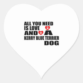 Alle benötigen Sie Liebe KERRY-BLAU-TERRIER Herz-Aufkleber