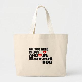 Alle benötigen Sie Liebeborzoi-Hundeentwürfe Jumbo Stoffbeutel
