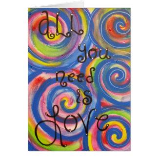 """""""Alle, die Sie benötigen, ist Liebe"""" Notecard Karte"""