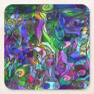 Alle Farben mit Wirbel und Linien Rechteckiger Pappuntersetzer