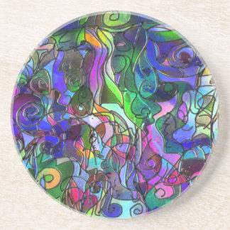 Alle Farben mit Wirbel und Linien Sandstein Untersetzer