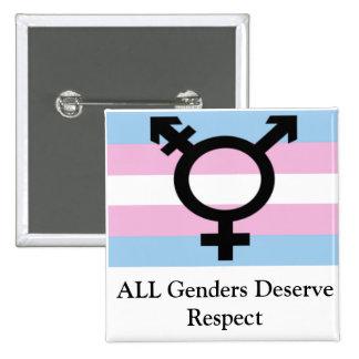 Alle Geschlechter verdienen Respekt Quadratischer Button 5,1 Cm