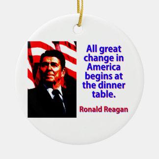 Alle große Änderung in Amerika - Ronald Reagan Rundes Keramik Ornament
