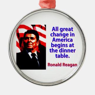 Alle große Änderung in Amerika - Ronald Reagan Silbernes Ornament
