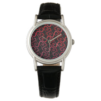 Alle Herzen glühend auf Schwarzem Armbanduhr