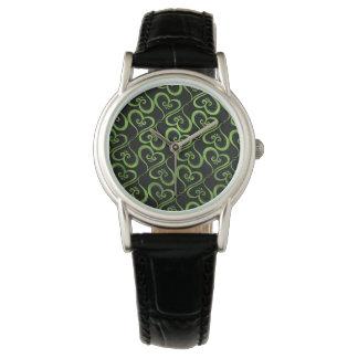 Alle Herzen Limon auf Schwarzem Armbanduhr