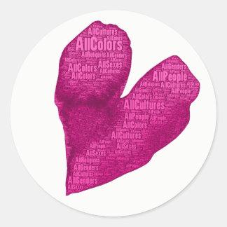 Alle Leute-Rosa-Herz-Aufkleber (6) Runder Aufkleber