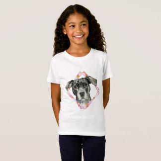 """""""Alle Ohren"""" 2 Pitbull-HundeAquarell-Malerei T-Shirt"""