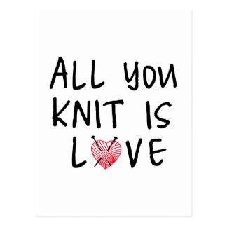 Alle sind Sie Strick Liebe mit Herz geformtem Postkarte