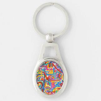 Alle Wege gehen dort - die abstrakte handgemalte Silberfarbener Oval Schlüsselanhänger