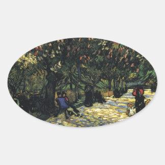 Allee mit Kastanienbäumen bei Arles - Van Gogh Ovaler Aufkleber