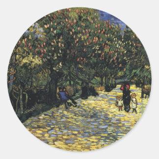 Allee mit Kastanienbäumen bei Arles - Van Gogh Runder Aufkleber