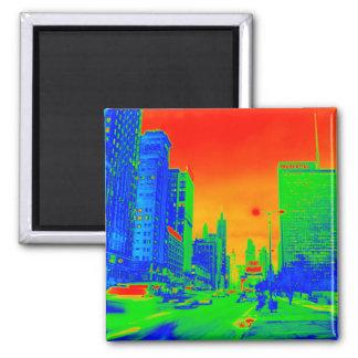 Alleen-@ Nachtam 6. März 1967 Neon Chicagos Quadratischer Magnet