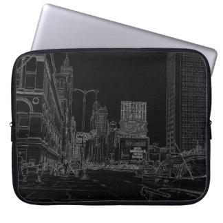 Alleensechziger jahre Chicagos Michigan glühendes Laptop Sleeve