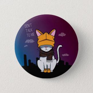 Allein in einer großen Stadt-Cartoon-Katze Runder Button 5,7 Cm
