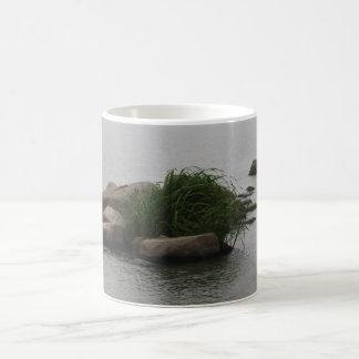 Alleines Gras, das auf Felsen in der Bucht wächst Kaffeetasse