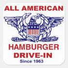 Aller amerikanische HAMBURGER Antrieb HEREIN von Quadratischer Aufkleber