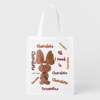 Aller, den ich benötige, ist Schokoladen-Osterhase Wiederverwendbare Einkaufstasche