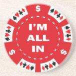 Aller ich bin im roten Poker-Chip Getränkeuntersetzer