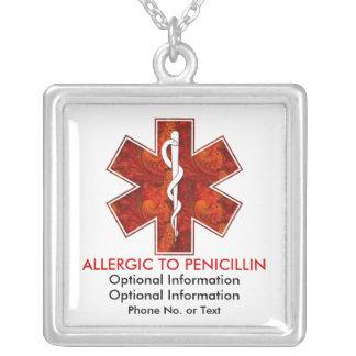 Allergisch zur Penicillin-medizinischen   Halskette Mit Quadratischem Anhänger