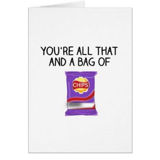Alles der und eine Tasche der Chips Karte