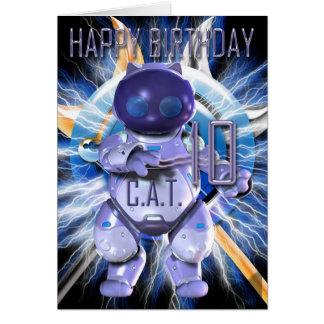 Alles Gute zum Geburtstag 10., Roboter-Katze, Grußkarte