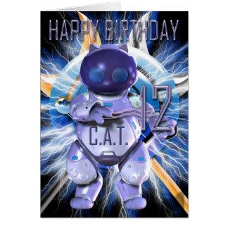 Alles Gute zum Geburtstag 12., Roboter-Katze, Grußkarte