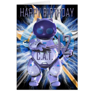 Alles Gute zum Geburtstag 12., Roboter-Katze, Karte