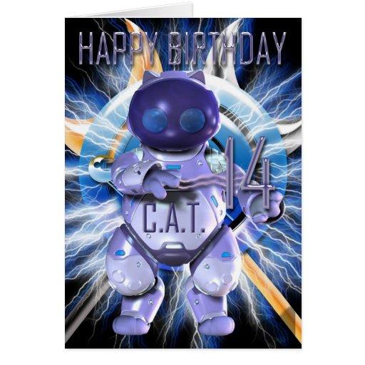 Alles Gute zum Geburtstag 14., Roboter-Katze, Karten