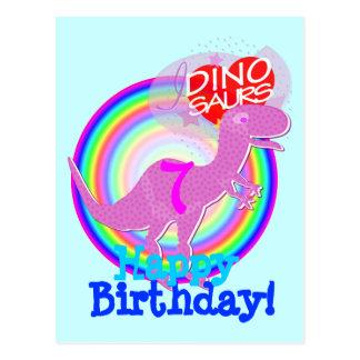 Alles Gute zum Geburtstag 7 Jahre lila T-Rex Dino Postkarte