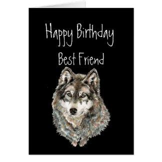 Alles Gute zum Geburtstag, bester Freund, Wolf, Karte