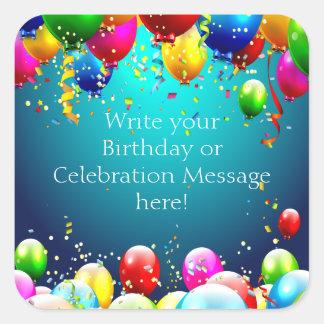 Alles Gute zum Geburtstag - Blau farbige Ballone - Quadratischer Aufkleber