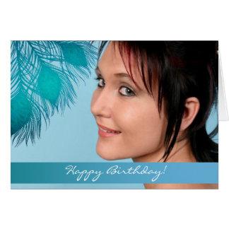 Alles Gute zum Geburtstag! - Blaue Pfau-Fotokarte Karte