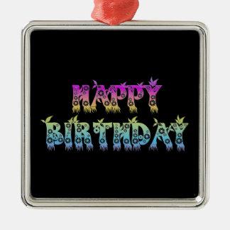 Alles Gute zum Geburtstag (Blumen-Schriftart) Silbernes Ornament