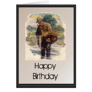 Alles Gute zum Geburtstag - Fliegenfischen im Flus Grußkarte