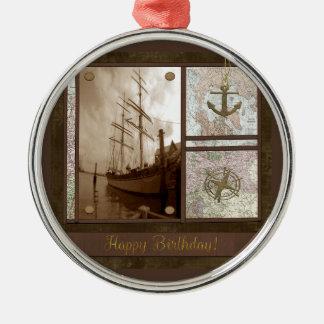 Alles Gute zum Geburtstag, hohe Schiffe, Anker, Silbernes Ornament