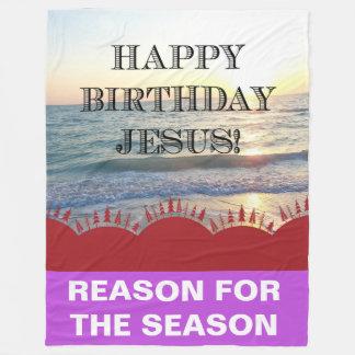 Alles Gute zum Geburtstag Jesus über dem Ozean Fleecedecke
