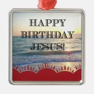 Alles Gute zum Geburtstag Jesus über dem Ozean Silbernes Ornament