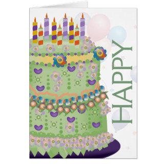 """""""Alles- Gute zum Geburtstag"""" Kuchen u. Ballone - Karte"""