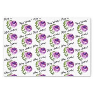 Alles Gute zum Geburtstag  lila Watercolor-Rose Seidenpapier