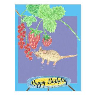 Alles Gute zum Geburtstag - Maus auf einer Postkarte