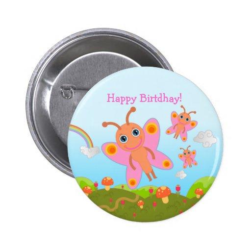 Alles Gute zum Geburtstag mit rosa Schmetterlingen Anstecknadelbutton