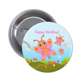 Alles Gute zum Geburtstag mit rosa Schmetterlingen Runder Button 5,1 Cm