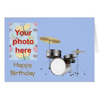 Alles Gute zum Geburtstag mit Trommelausrüstung ad Grußkarte